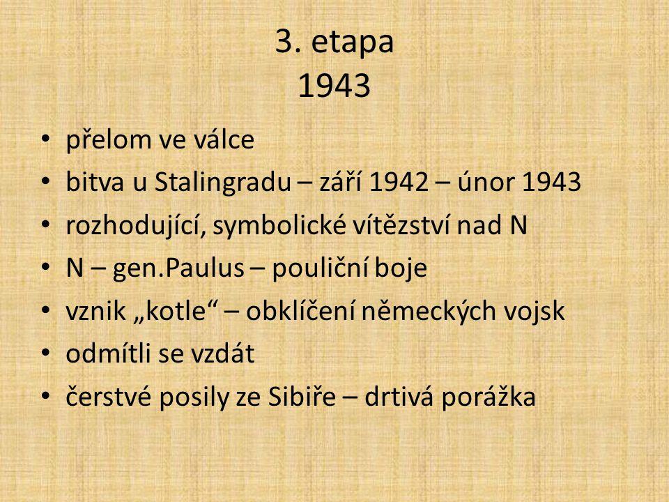 3. etapa 1943 přelom ve válce bitva u Stalingradu – září 1942 – únor 1943 rozhodující, symbolické vítězství nad N N – gen.Paulus – pouliční boje vznik