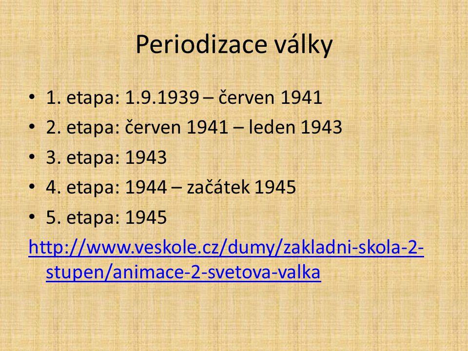Periodizace války 1. etapa: 1.9.1939 – červen 1941 2. etapa: červen 1941 – leden 1943 3. etapa: 1943 4. etapa: 1944 – začátek 1945 5. etapa: 1945 http