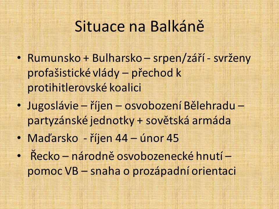 Situace na Balkáně Rumunsko + Bulharsko – srpen/září - svrženy profašistické vlády – přechod k protihitlerovské koalici Jugoslávie – říjen – osvobozen