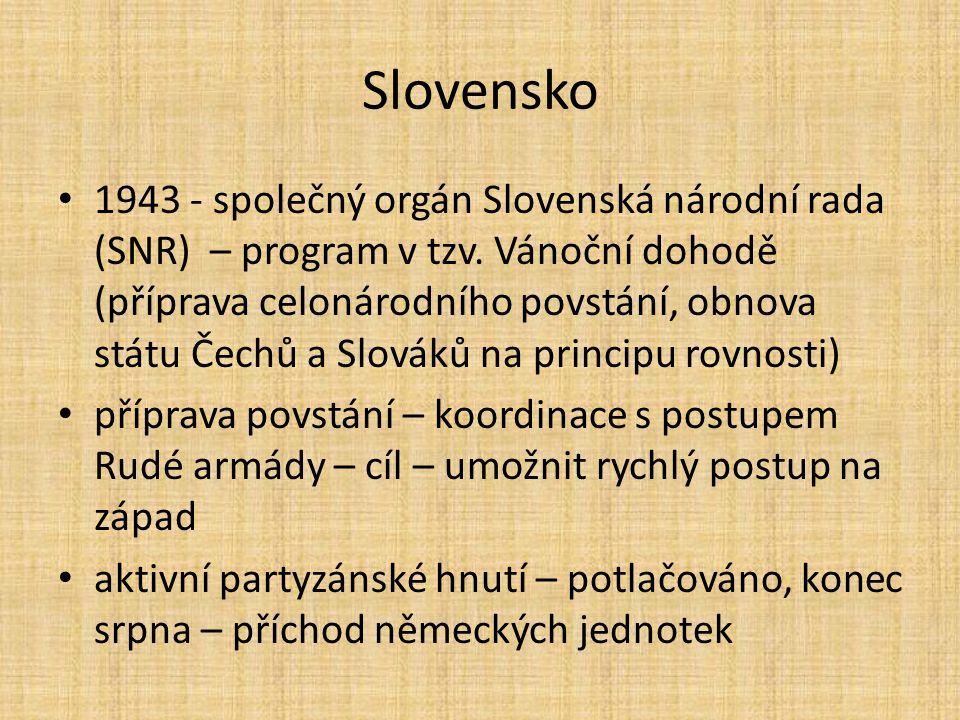 Slovensko 1943 - společný orgán Slovenská národní rada (SNR) – program v tzv. Vánoční dohodě (příprava celonárodního povstání, obnova státu Čechů a Sl