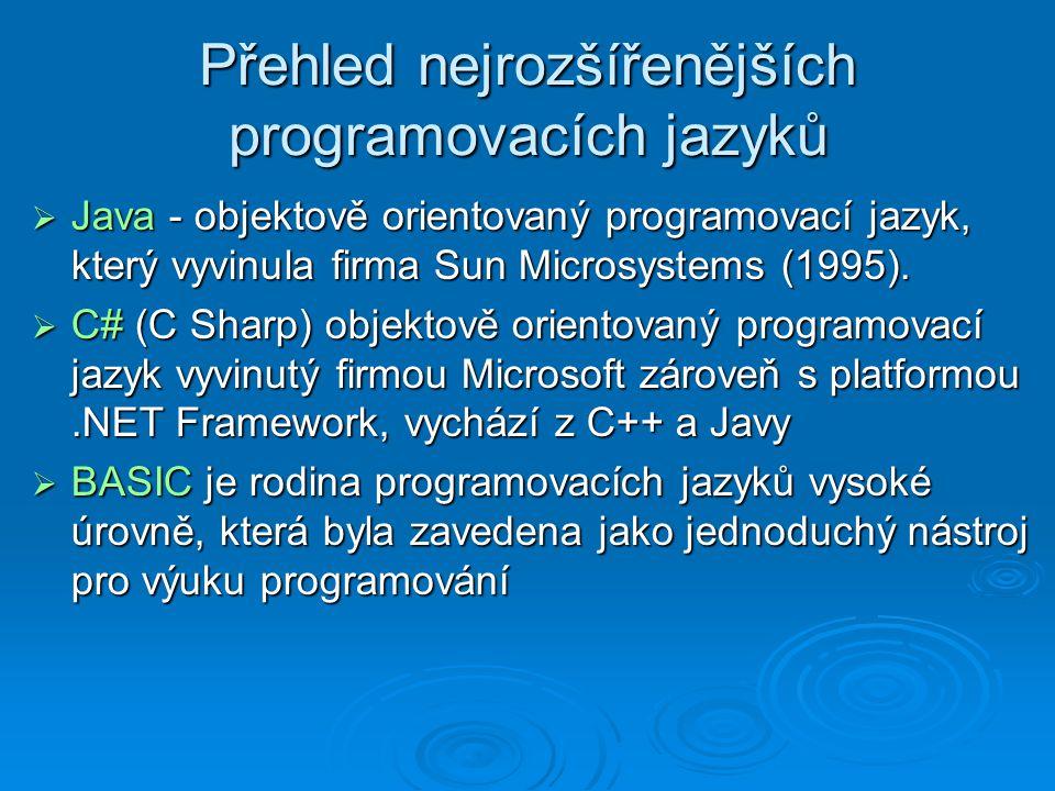 Přehled nejrozšířenějších programovacích jazyků  Pascal - původně určen k výuce programování, používá se i k programování reálných aplikací.