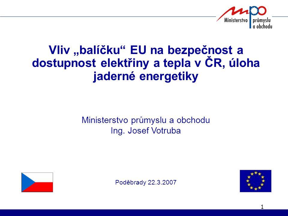 "1 Vliv ""balíčku EU na bezpečnost a dostupnost elektřiny a tepla v ČR, úloha jaderné energetiky Ministerstvo průmyslu a obchodu Ing."