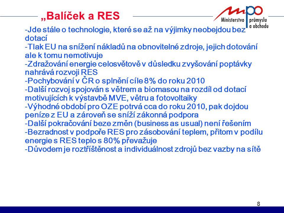 """8 """"Balíček a RES -Jde stále o technologie, které se až na výjimky neobejdou bez dotací -Tlak EU na snížení nákladů na obnovitelné zdroje, jejich dotování ale k tomu nemotivuje -Zdražování energie celosvětově v důsledku zvyšování poptávky nahrává rozvoji RES -Pochybování v ČR o splnění cíle 8% do roku 2010 -Další rozvoj spojován s větrem a biomasou na rozdíl od dotací motivujících k výstavbě MVE, větru a fotovoltaiky -Výhodné období pro OZE potrvá cca do roku 2010, pak dojdou peníze z EU a zároveň se sníží zákonná podpora -Další pokračování beze změn (business as usual) není řešením -Bezradnost v podpoře RES pro zásobování teplem, přitom v podílu energie s RES teplo s 80% převažuje -Důvodem je roztříštěnost a individuálnost zdrojů bez vazby na sítě"""