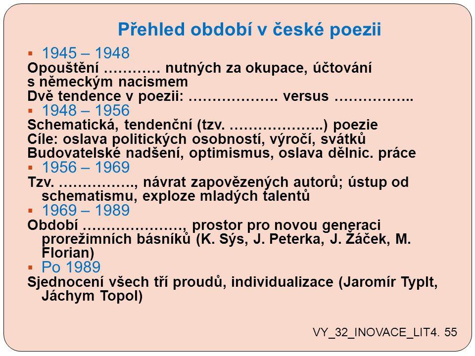 Přehled období v české poezii  1945 – 1948 Opouštění ………… nutných za okupace, účtování s německým nacismem Dvě tendence v poezii: ……………….