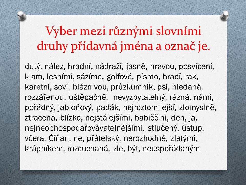 Vyber mezi různými slovními druhy přídavná jména a označ je.