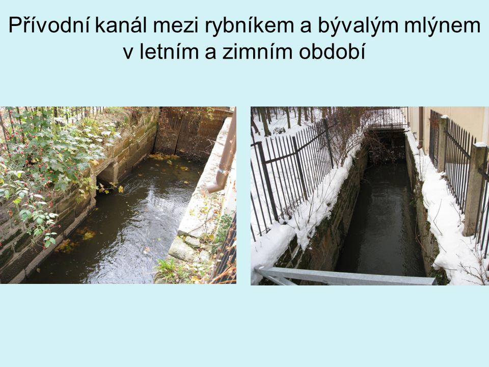 Přívodní kanál mezi rybníkem a bývalým mlýnem v letním a zimním období