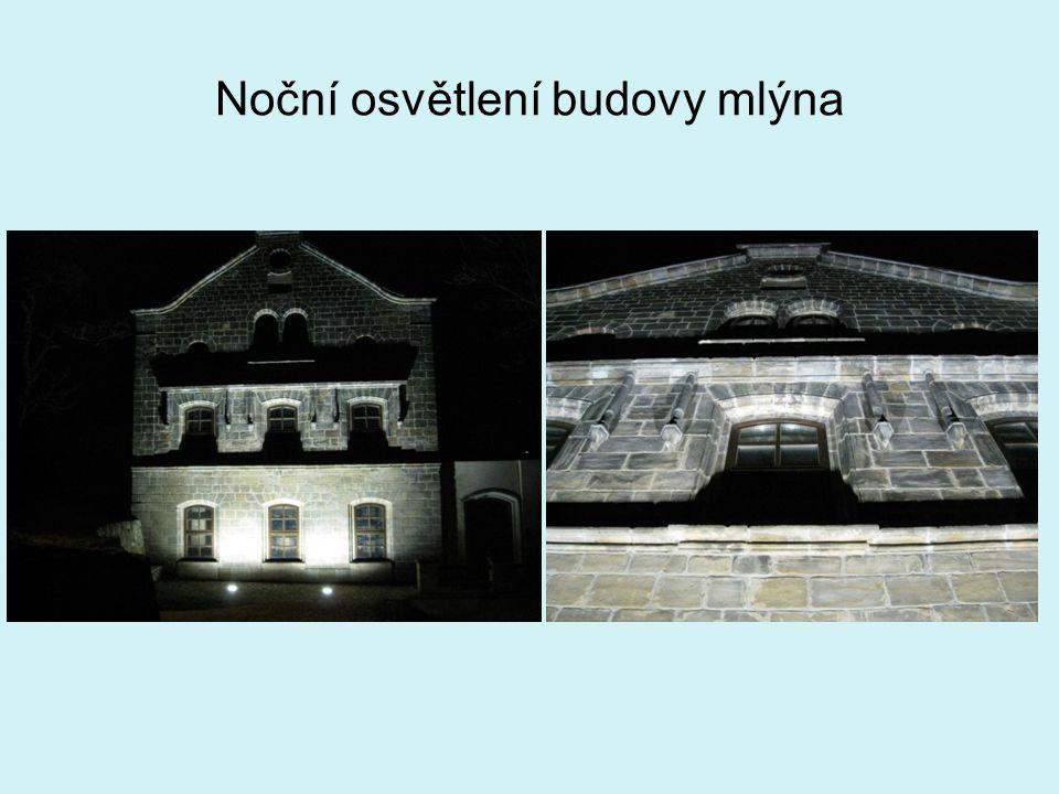 Noční osvětlení budovy mlýna
