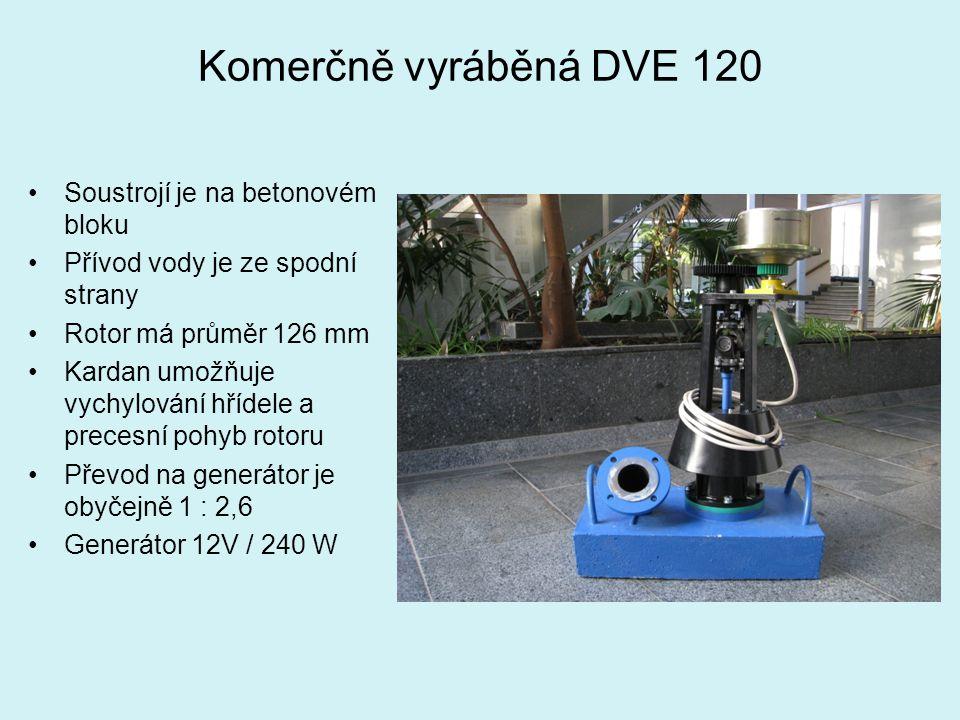 Komerčně vyráběná DVE 120 Soustrojí je na betonovém bloku Přívod vody je ze spodní strany Rotor má průměr 126 mm Kardan umožňuje vychylování hřídele a