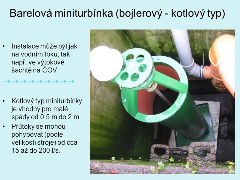 Barelová miniturbínka (bojlerový - kotlový typ) Instalace může být jak na vodním toku, tak např. ve výtokové šachtě na ČOV →→→→→→→→→ Kotlový typ minit