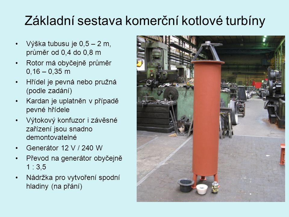 Základní sestava komerční kotlové turbíny Výška tubusu je 0,5 – 2 m, průměr od 0,4 do 0,8 m Rotor má obyčejně průměr 0,16 – 0,35 m Hřídel je pevná neb