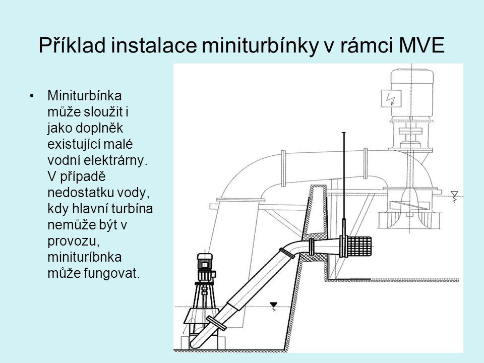 Příklad instalace miniturbínky v rámci MVE Miniturbínka může sloužit i jako doplněk existující malé vodní elektrárny. V případě nedostatku vody, kdy h