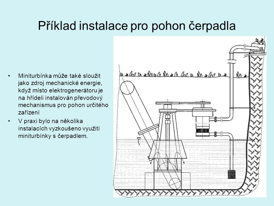 Příklad instalace pro pohon čerpadla Miniturbínka může také sloužit jako zdroj mechanické energie, když místo elektrogenerátoru je na hřídeli instalov