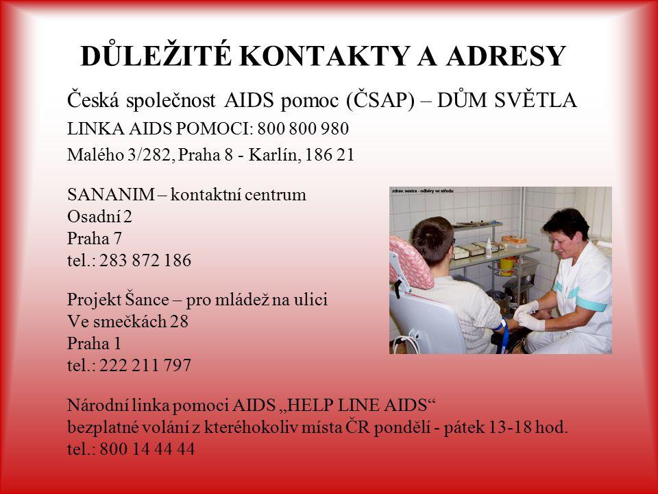 DŮLEŽITÉ KONTAKTY A ADRESY Česká společnost AIDS pomoc (ČSAP) – DŮM SVĚTLA LINKA AIDS POMOCI: 800 800 980 Malého 3/282, Praha 8 - Karlín, 186 21 SANAN