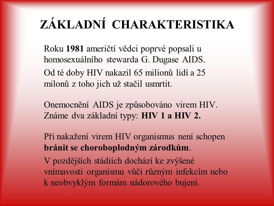 ZÁKLADNÍ CHARAKTERISTIKA Roku 1981 američtí vědci poprvé popsali u homosexuálního stewarda G. Dugase AIDS. Od té doby HIV nakazil 65 milionů lidí a 25