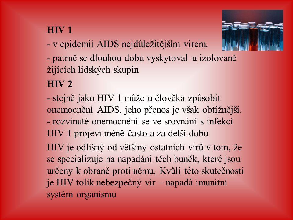 HIV 1 - v epidemii AIDS nejdůležitějším virem. - patrně se dlouhou dobu vyskytoval u izolovaně žijících lidských skupin HIV 2 - stejně jako HIV 1 může