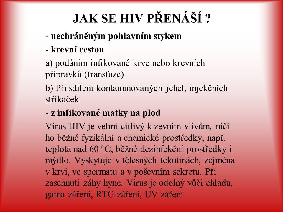 - při běžném společenském styku (podání ruky) - společným užíváním nádobí, WC - polibkem (sliny HIV pozitivního sice mohou obsahovat virus, ale ve velmi malém množství.