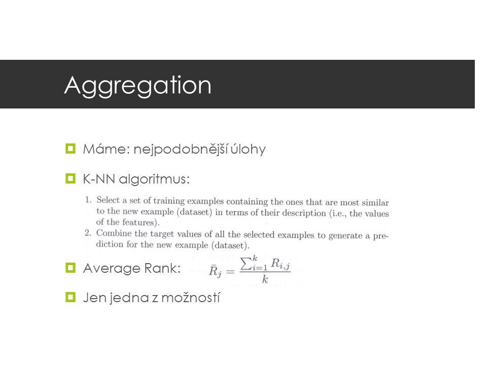 Aggregation  Máme: nejpodobnější úlohy  K-NN algoritmus:  Average Rank:  Jen jedna z možností