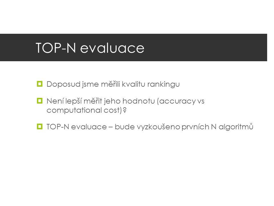 TOP-N evaluace  Doposud jsme měřili kvalitu rankingu  Není lepší měřit jeho hodnotu (accuracy vs computational cost)?  TOP-N evaluace – bude vyzkou
