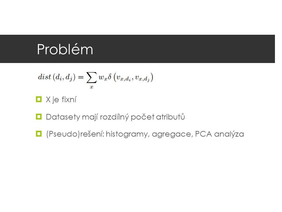 Problém  X je fixní  Datasety mají rozdílný počet atributů  (Pseudo)rešení: histogramy, agregace, PCA analýza