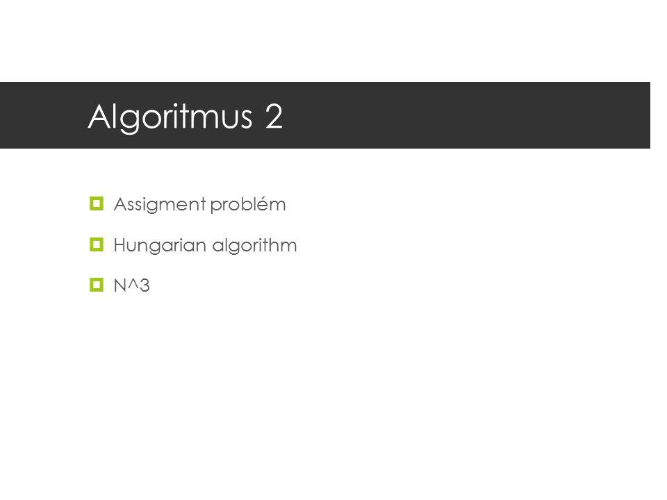Algoritmus 2  Assigment problém  Hungarian algorithm  N^3