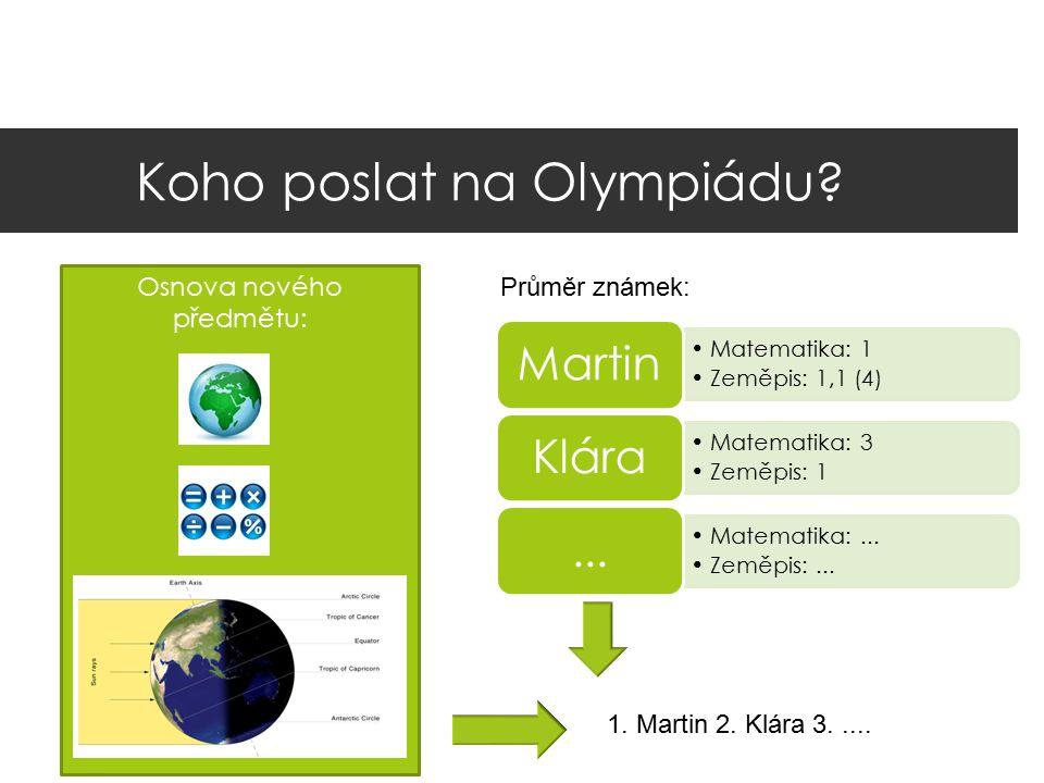 Koho poslat na Olympiádu? Osnova nového předmětu: Matematika: 1 Zeměpis: 1,1 (4) Martin Matematika: 3 Zeměpis: 1 Klára Matematika:... Zeměpis:...... P