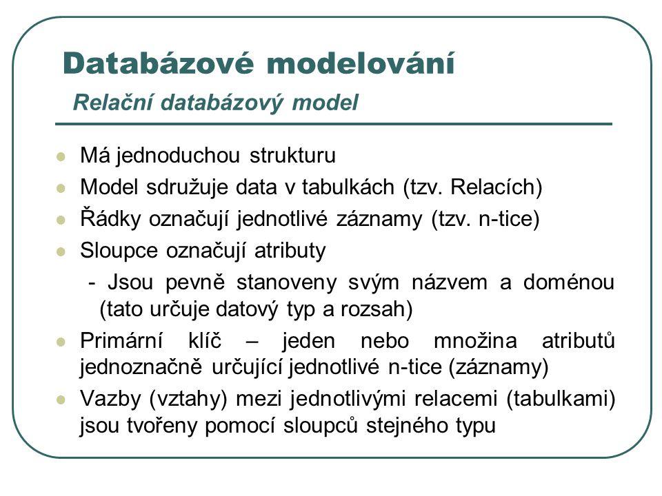 Databázové modelování Relační databázový model Má jednoduchou strukturu Model sdružuje data v tabulkách (tzv. Relacích) Řádky označují jednotlivé zázn