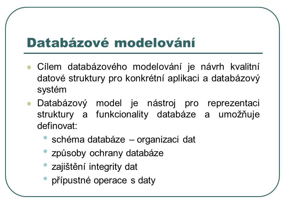 Cílem databázového modelování je návrh kvalitní datové struktury pro konkrétní aplikaci a databázový systém Databázový model je nástroj pro reprezenta
