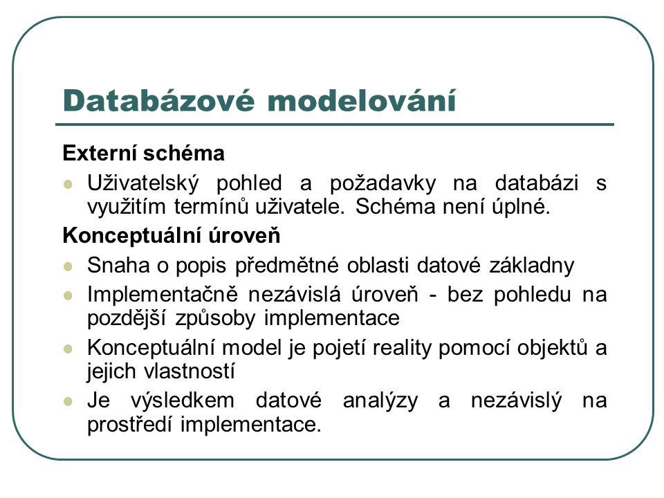 Databázové modelování Externí schéma Uživatelský pohled a požadavky na databázi s využitím termínů uživatele. Schéma není úplné. Konceptuální úroveň S