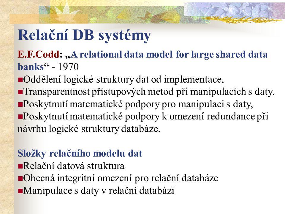 """E.F.Codd: """"A relational data model for large shared data banks"""" - 1970 Oddělení logické struktury dat od implementace, Transparentnost přístupových me"""