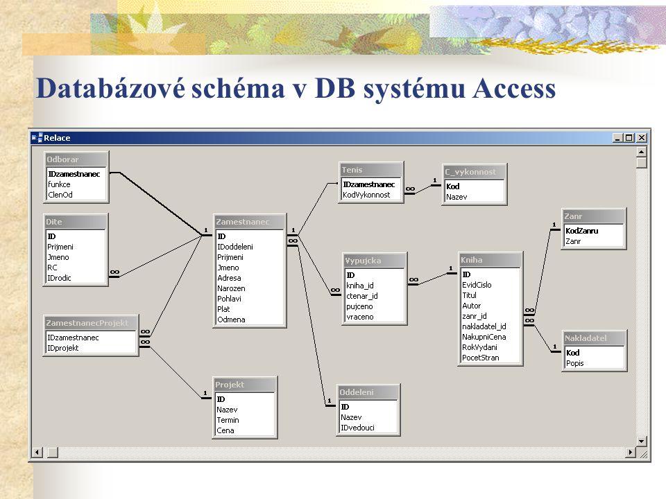 Databázové schéma v DB systému Access