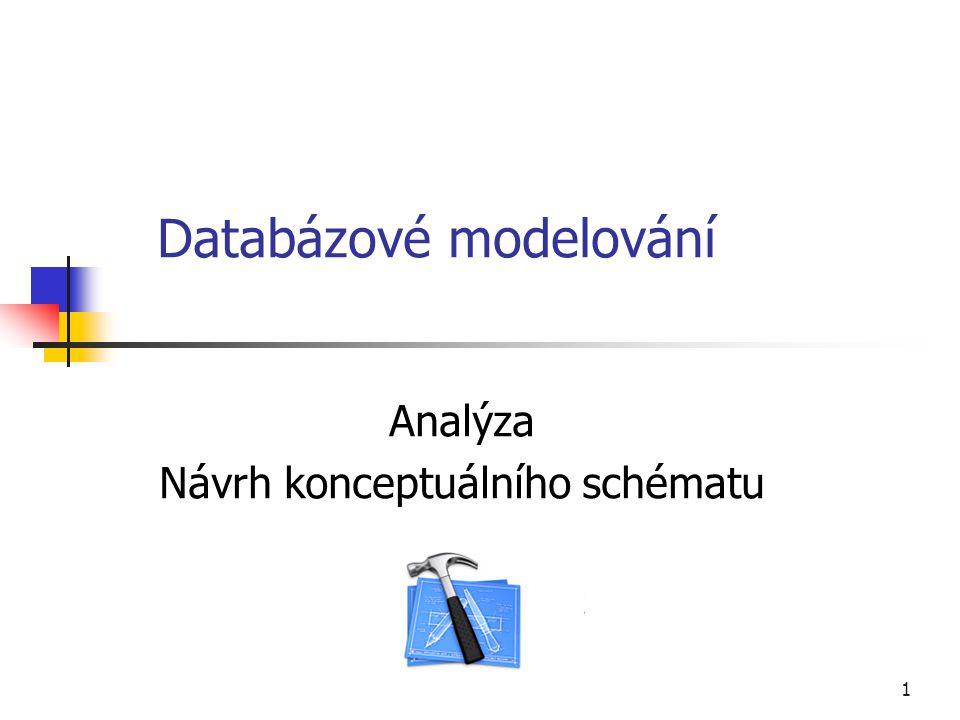 1 Databázové modelování Analýza Návrh konceptuálního schématu