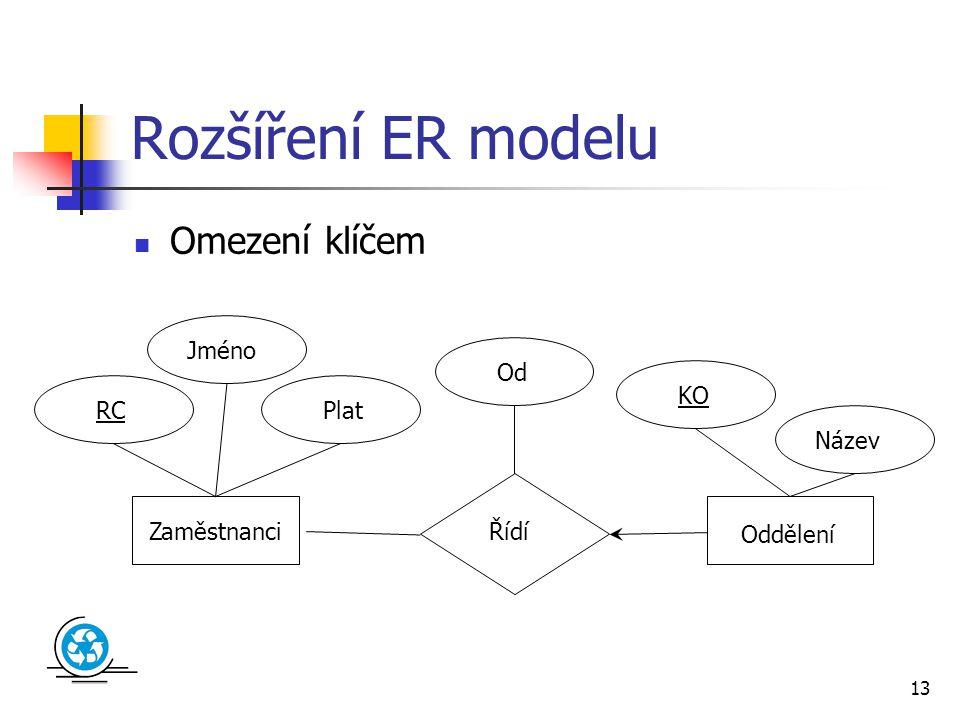 13 Rozšíření ER modelu Omezení klíčem Zaměstnanci Oddělení Řídí Od Jméno RC KO Plat Název