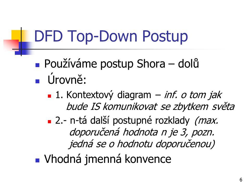 6 DFD Top-Down Postup Používáme postup Shora – dolů Úrovně: 1. Kontextový diagram – inf. o tom jak bude IS komunikovat se zbytkem světa 2.- n-tá další