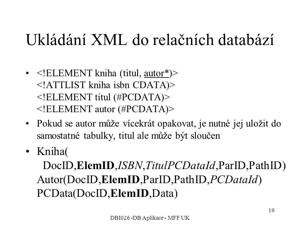 DBI026 -DB Aplikace - MFF UK 19 Ukládání XML do relačních databází Pokud se autor může vícekrát opakovat, je nutné jej uložit do samostatné tabulky, titul ale může být sloučen Kniha( DocID,ElemID,ISBN,TitulPCDataId,ParID,PathID) Autor(DocID,ElemID,ParID,PathID,PCDataId) PCData(DocID,ElemID,Data)