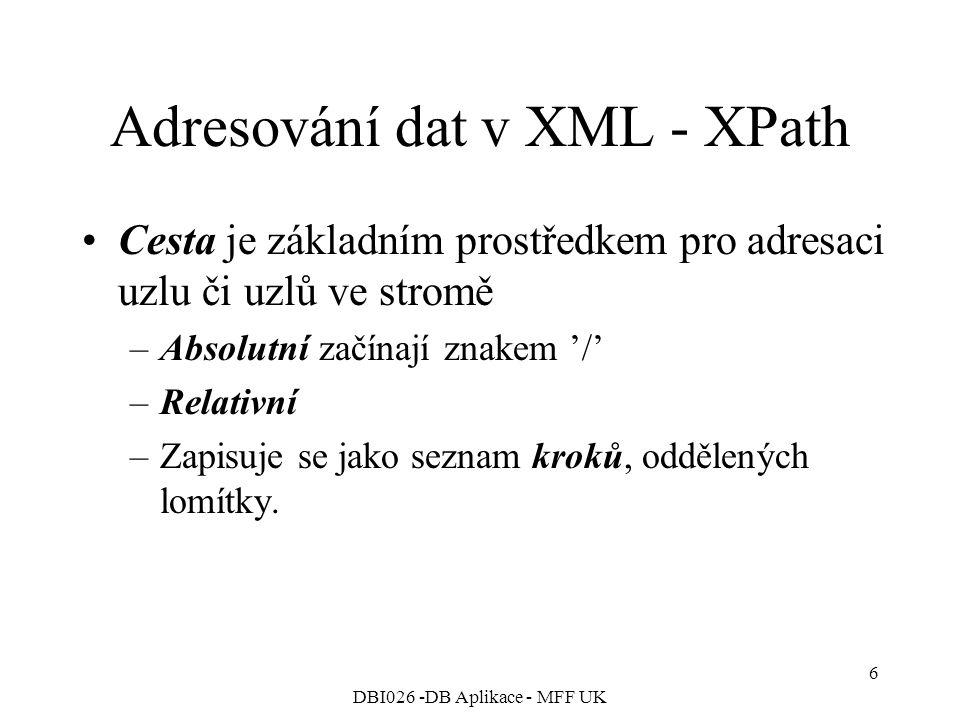 DBI026 -DB Aplikace - MFF UK 6 Adresování dat v XML - XPath Cesta je základním prostředkem pro adresaci uzlu či uzlů ve stromě –Absolutní začínají znakem '/' –Relativní –Zapisuje se jako seznam kroků, oddělených lomítky.