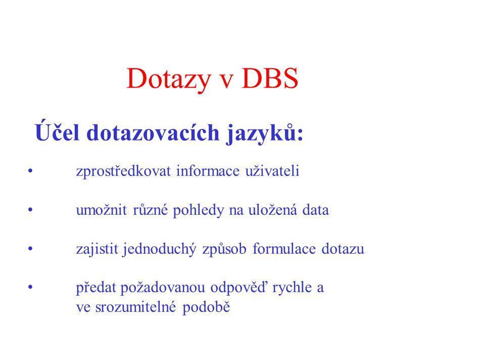 Dotazy v DBS zprostředkovat informace uživateli umožnit různé pohledy na uložená data zajistit jednoduchý způsob formulace dotazu předat požadovanou odpověď rychle a ve srozumitelné podobě Účel dotazovacích jazyků: