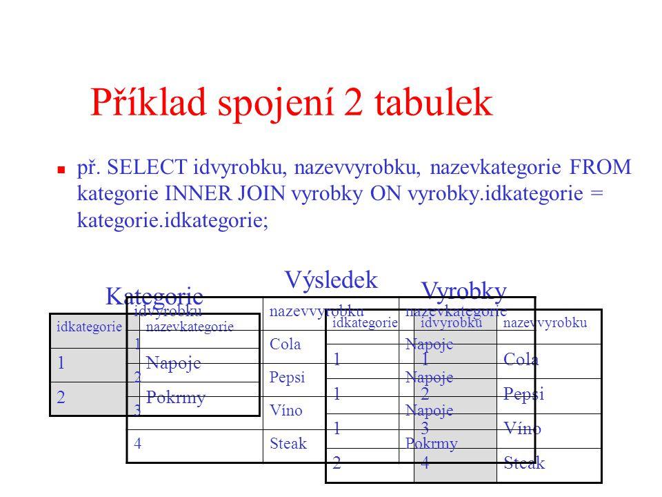 Příklad spojení 2 tabulek př.