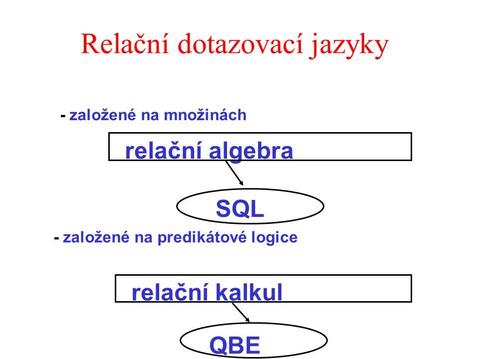 Relační dotazovací jazyky - založené na predikátové logice SQL - založené na množinách relační algebra relační kalkul QBE