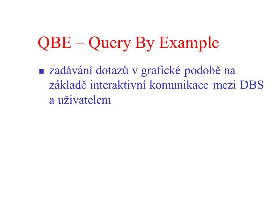 QBE – Query By Example zadávání dotazů v grafické podobě na základě interaktivní komunikace mezi DBS a uživatelem