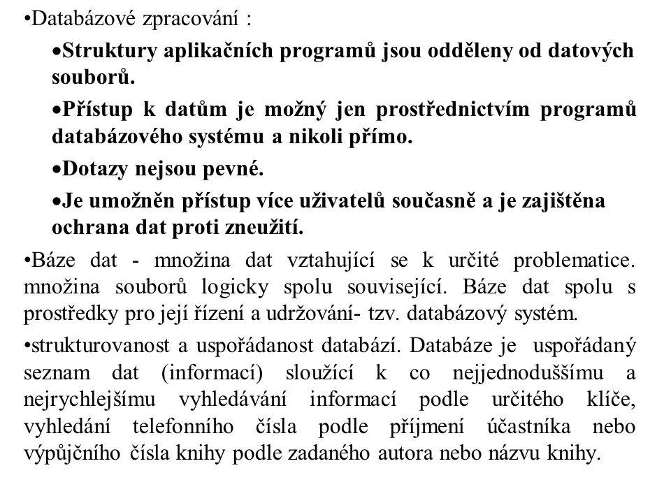 Databázové zpracování :  Struktury aplikačních programů jsou odděleny od datových souborů.  Přístup k datům je možný jen prostřednictvím programů da