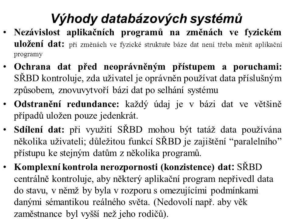 Výhody databázových systémů Nezávislost aplikačních programů na změnách ve fyzickém uložení dat: při změnách ve fyzické struktuře báze dat není třeba