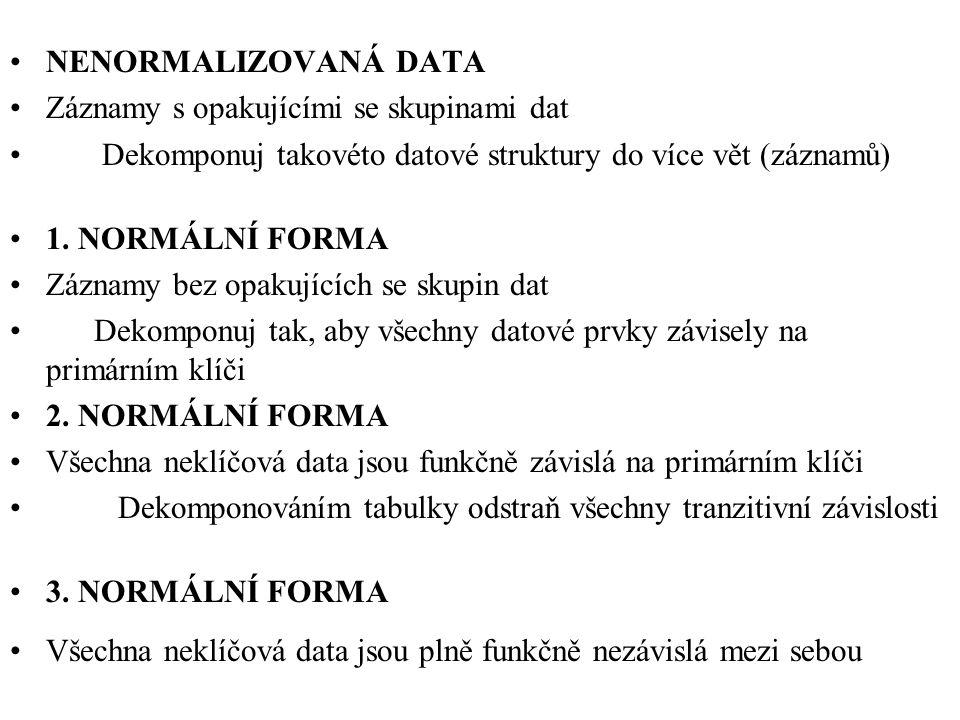 NENORMALIZOVANÁ DATA Záznamy s opakujícími se skupinami dat Dekomponuj takovéto datové struktury do více vět (záznamů) 1. NORMÁLNÍ FORMA Záznamy bez o