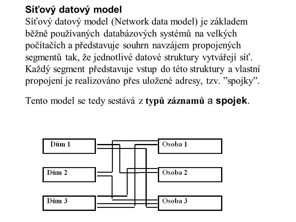 Síťový datový model Síťový datový model (Network data model) je základem běžně používaných databázových systémů na velkých počítačích a představuje so