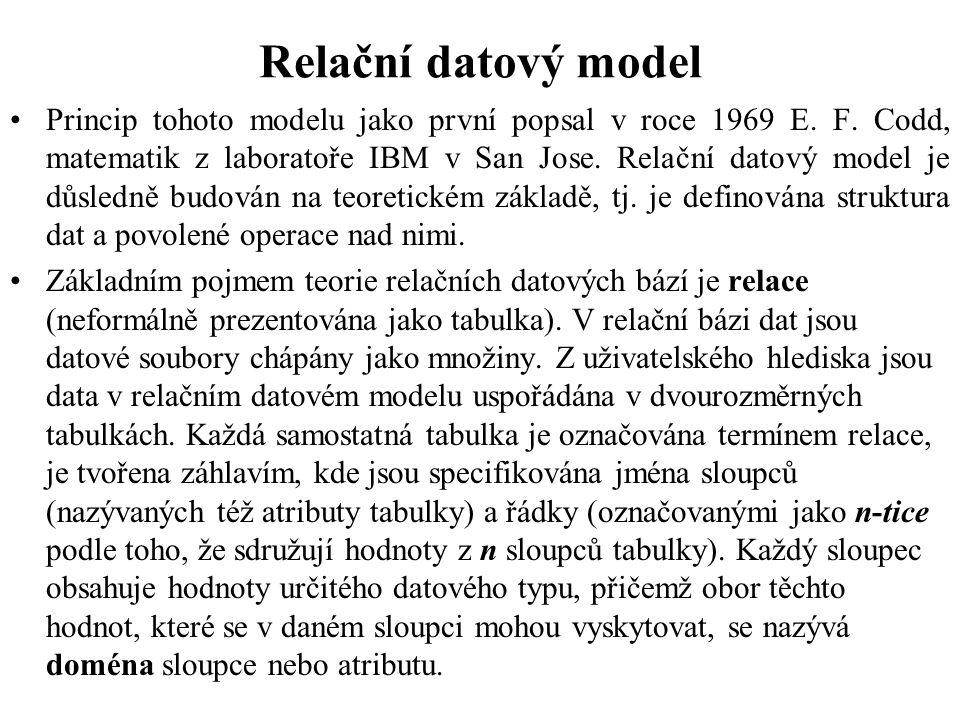 Relační datový model Princip tohoto modelu jako první popsal v roce 1969 E. F. Codd, matematik z laboratoře IBM v San Jose. Relační datový model je dů