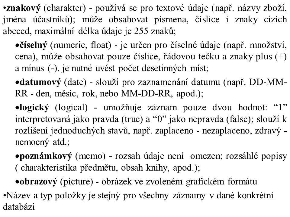 znakový (charakter) - používá se pro textové údaje (např. názvy zboží, jména účastníků); může obsahovat písmena, číslice i znaky cizích abeced, maximá