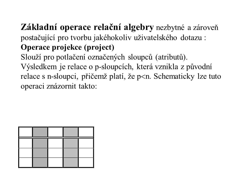 Základní operace relační algebry nezbytné a zároveň postačující pro tvorbu jakéhokoliv uživatelského dotazu : Operace projekce (project) Slouží pro po