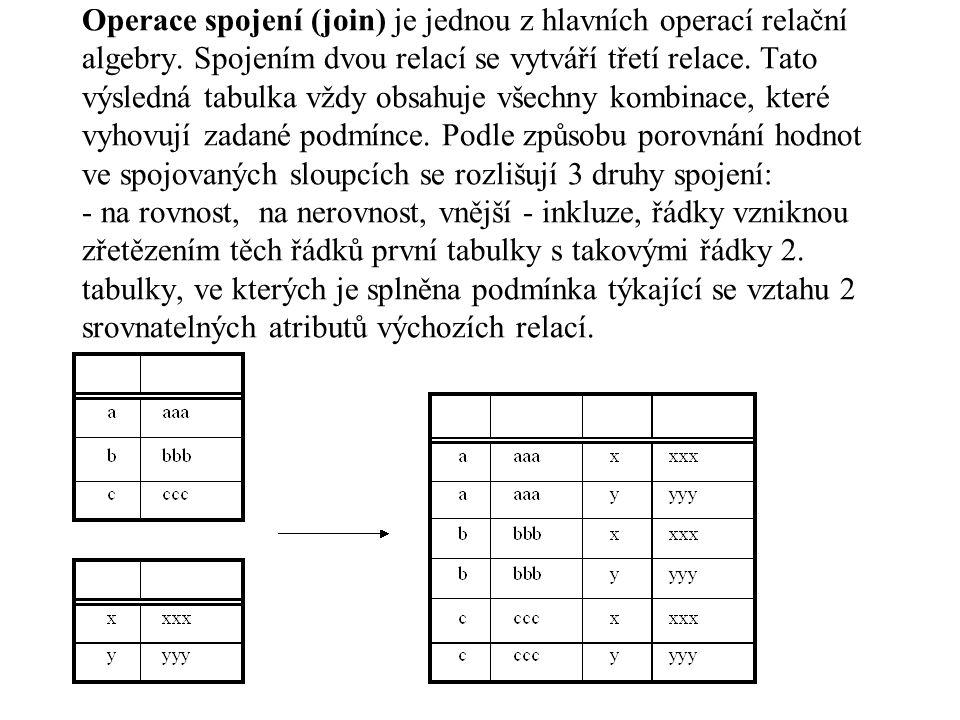 Operace spojení (join) je jednou z hlavních operací relační algebry. Spojením dvou relací se vytváří třetí relace. Tato výsledná tabulka vždy obsahuje