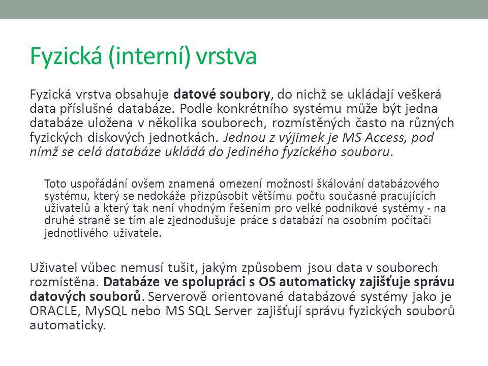 Fyzická (interní) vrstva Fyzická vrstva obsahuje datové soubory, do nichž se ukládají veškerá data příslušné databáze. Podle konkrétního systému může