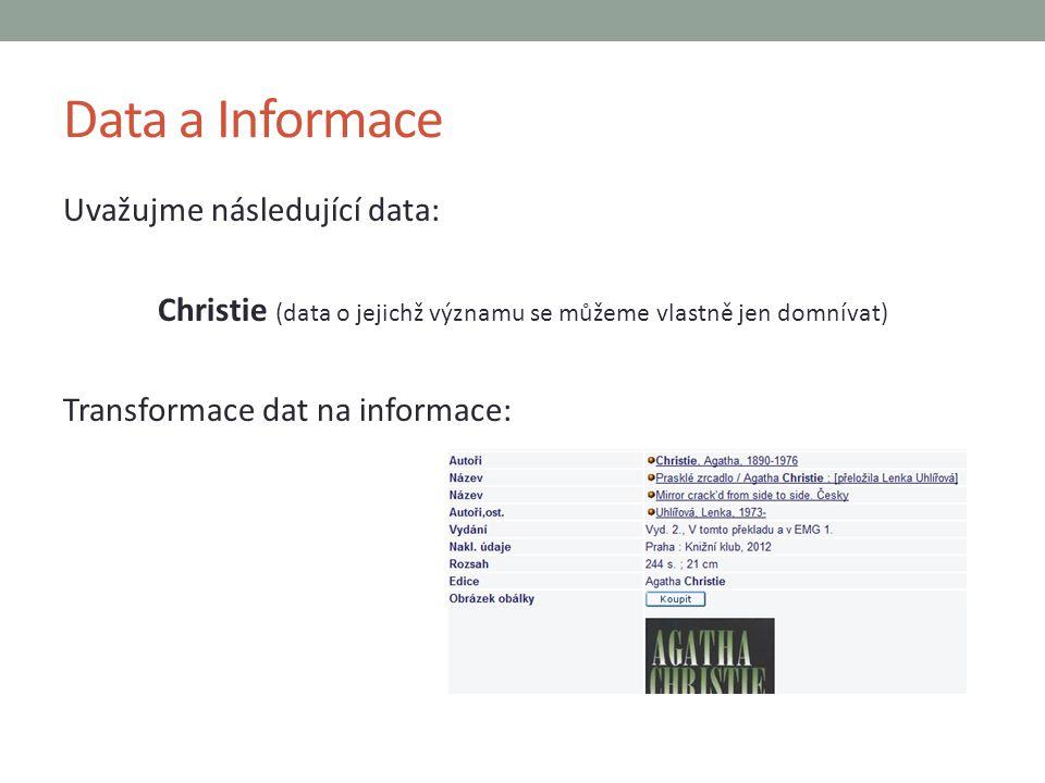 Data a Informace Uvažujme následující data: Christie (data o jejichž významu se můžeme vlastně jen domnívat) Transformace dat na informace: