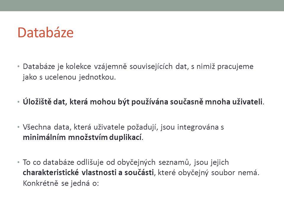 Databáze Databáze je kolekce vzájemně souvisejících dat, s nimiž pracujeme jako s ucelenou jednotkou. Úložiště dat, která mohou být používána současně